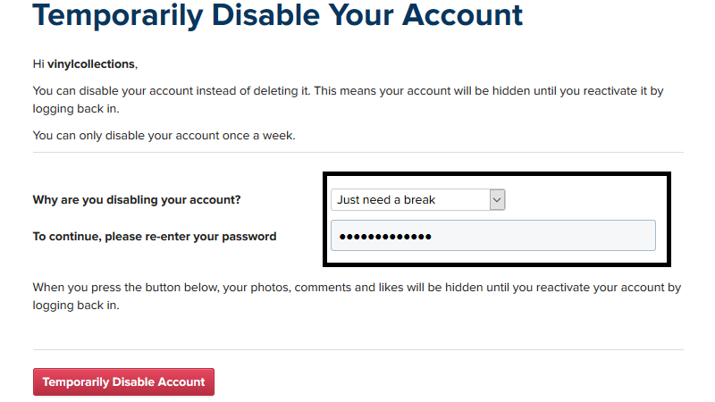 temporarily disable your instagram