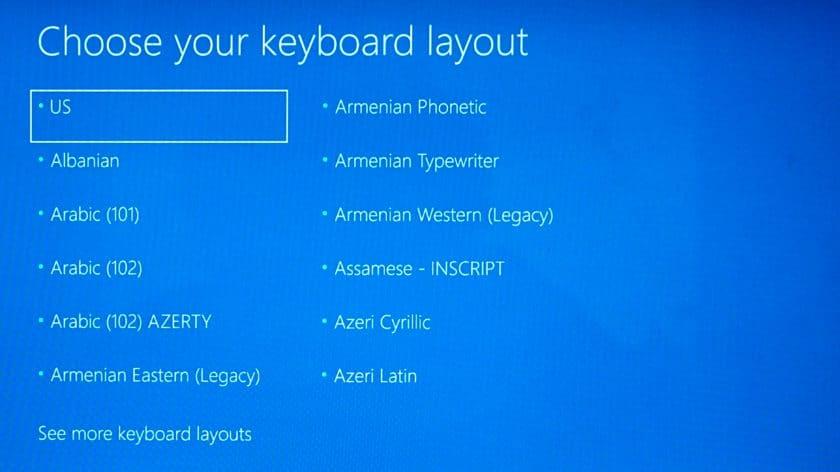 انتخاب زبان صفحه کلید