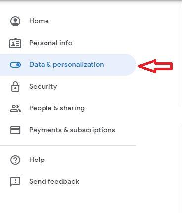 گزینه Data & Personalization