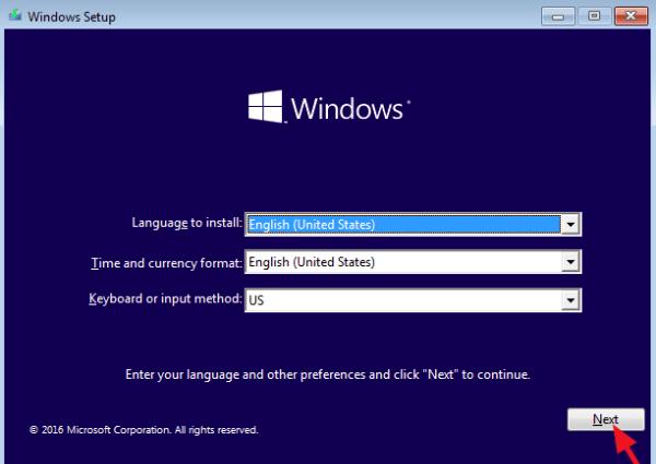 آموزش نصب ویندوز 10 - انتخاب زبان و موقعیت جغرافیایی