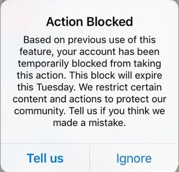پیام Action Blocked