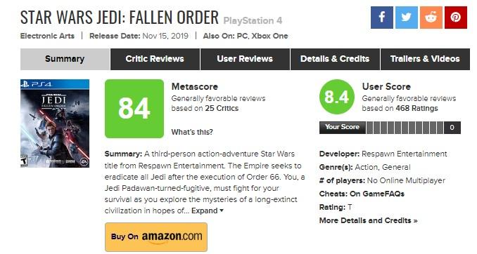 نمرات بازی Star Wars Jedi: Fallen Order در کنسول پلی استیشن 4
