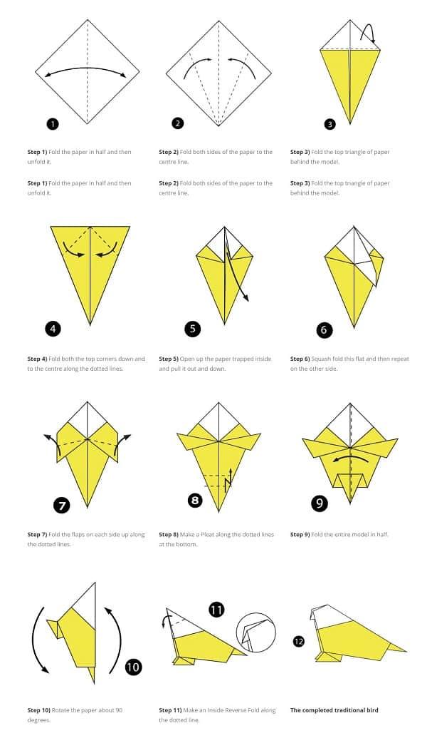 آموزش ساخت اوریگامی پرنده