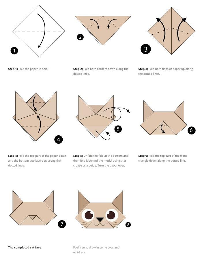 آموزش ساخت اوریگامی گربه