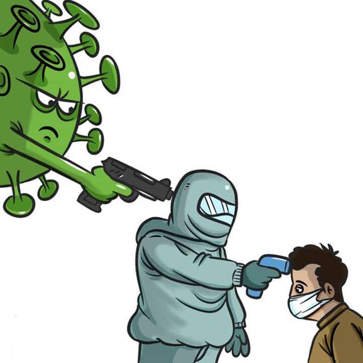 نقاشی کرونا ویروس کودکانه