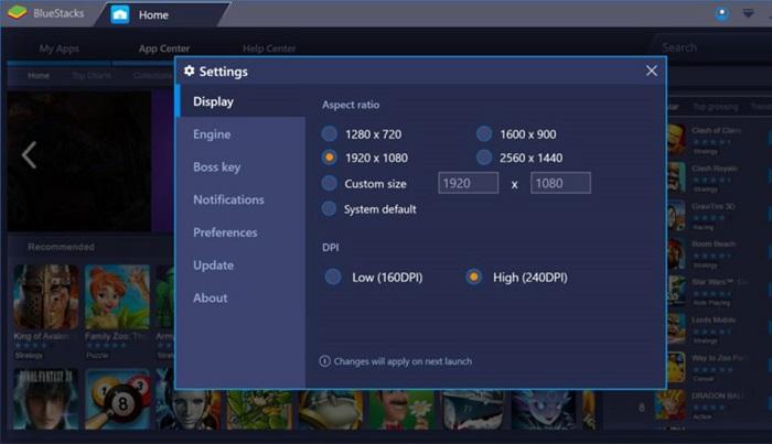 تنظیمات گرافیکی نرم افزار BlueStacks