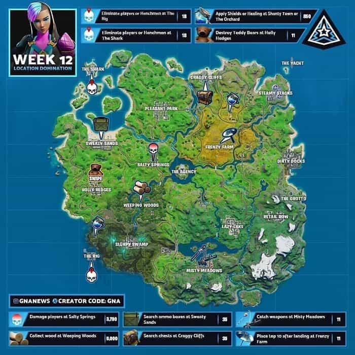 راهنمای چلنج های LOCATION DOMINATION هفته 12 فورتنایت