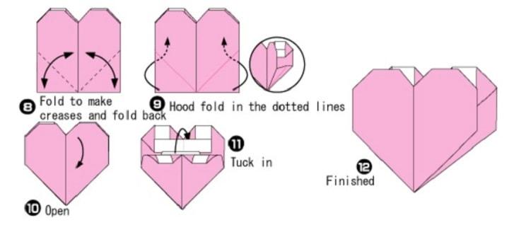 آموزش ساخت اوریگامی پاکت قلبی