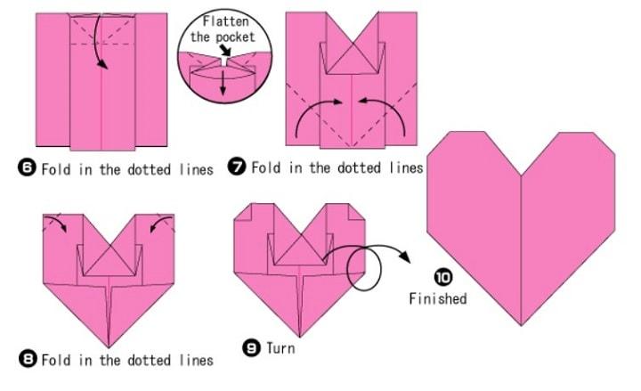 آموزش ساخت اوریگامی قلب معمولی و ساده