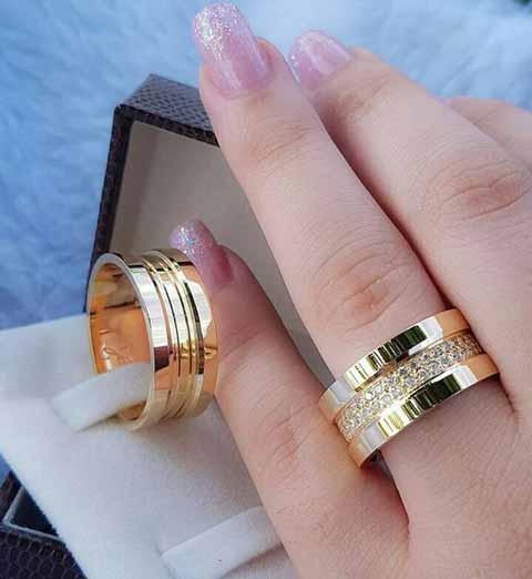 حلقه ازدواج طلا سفید و زرد