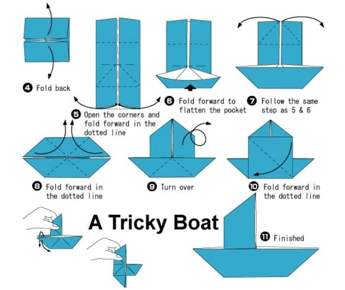 آموزش ساخت اوریگامی راحت قایق بادبانی