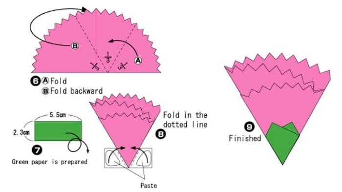 آموزش ساخت اوریگامی ساده گل میخک