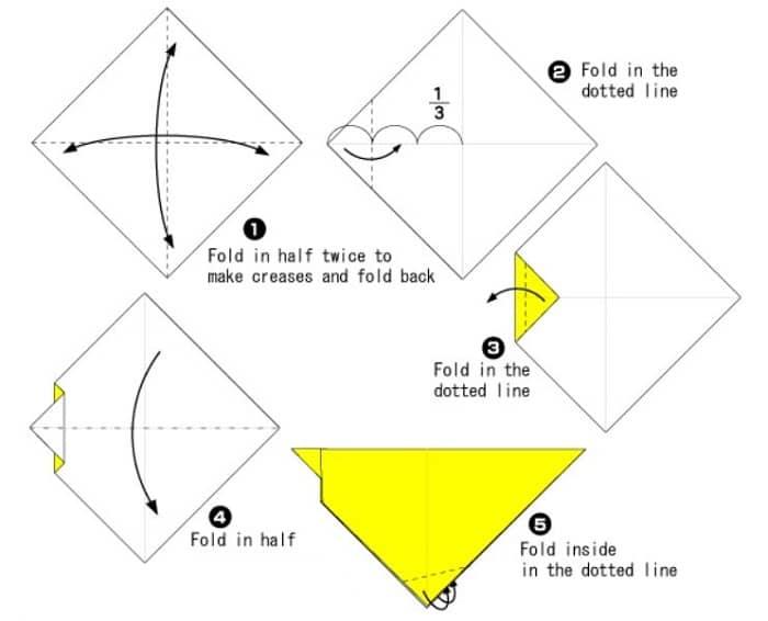 آموزش ساخت اوریگامی آسان جوجه