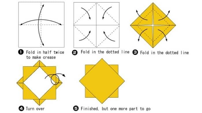 آموزش ساخت اوریگامی ساده گل آفتاب گردان