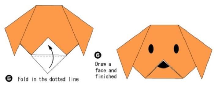 آموزش ساخت اوریگامی ساده صورت سگ