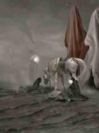 تصویر زمینه امام حسین علیه السلام هنگام تیر خوردن