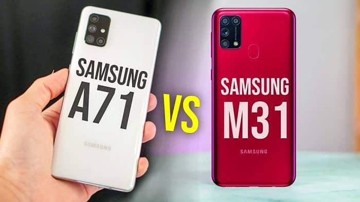 مقایسه گلکسی M31 با A71 با A51