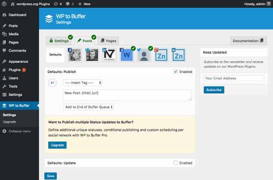 پلاگین WordPress to Buffer