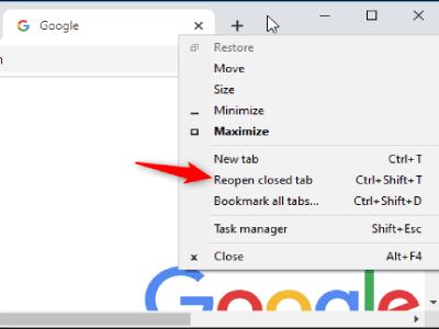 برگرداندن آخرین صفحات بسته شده گوگل کروم ویندوز