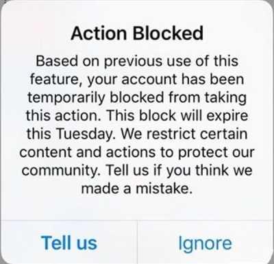 پیغام اکشن بلاک Action Blocked