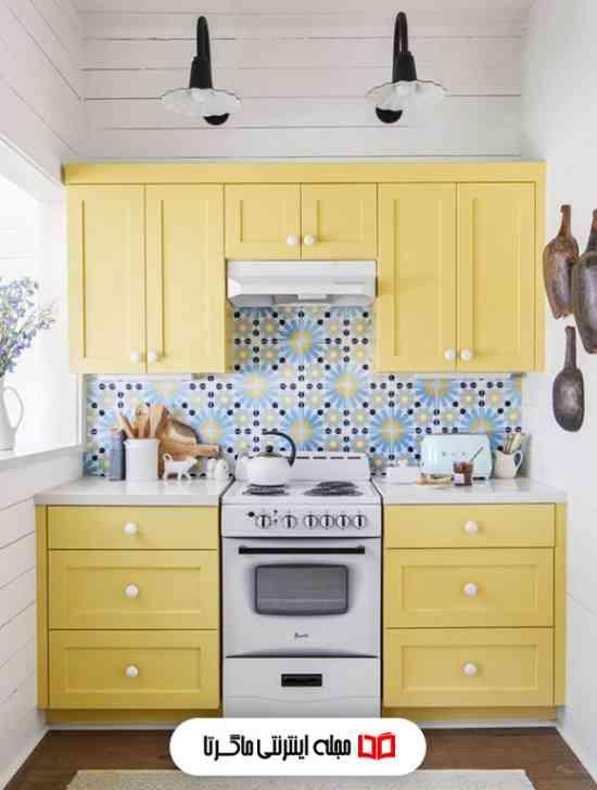 رنگ زرد روشن در آشپزخانه