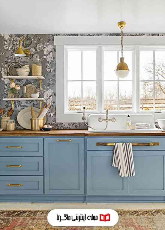 رنگ آبی ملایم در آشپزخانه