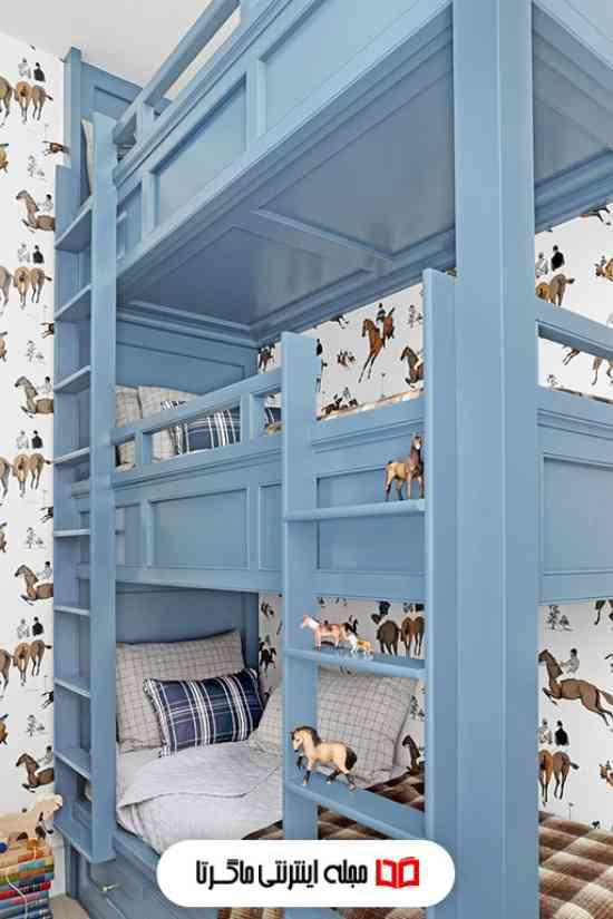 رنگ آب دریایی در اتاق خواب پسرانه