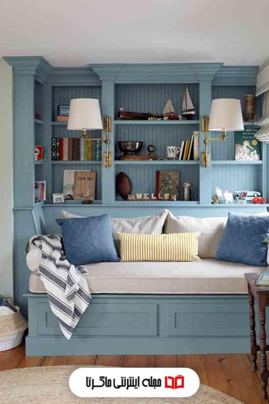 رنگ آبی روشن در اتاق پذیرایی