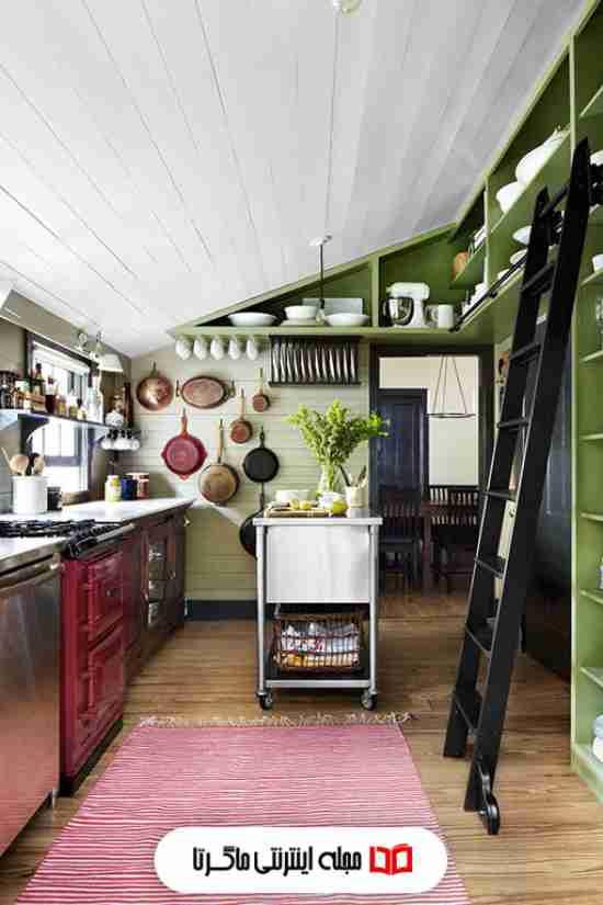 ترکیب رنگ سبز و سفید در آشپزخانه
