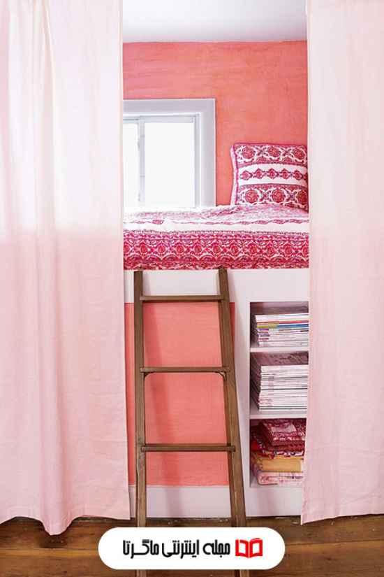 رنگ هلویی جذاب در اتاق خواب دخترانه