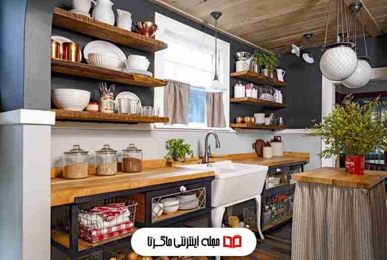ترکیب رنگ سیاه و سفید در آشپزخانه