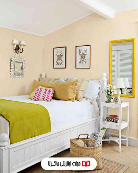 رنگ هلویی کمرنگ در اتاق خواب