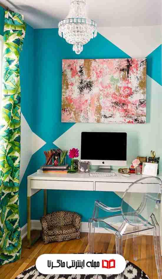 رنگ آبی فیروزهای در اتاق خواب